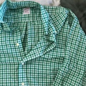 Brooks brothers green button down